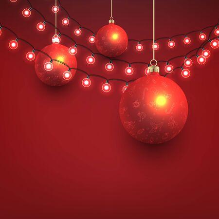 Weihnachtskugeln und Glühbirnen