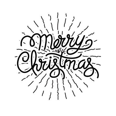 Festlicher Feiertag Hand beschrifteter Wunschtext für Weihnachten und Neujahr Typografie Gestaltungselement Vektorgrafik