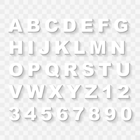 Upper Case Alphabet Letters and Numbers with Flat Shadow Collection Illustration