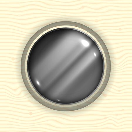 Abstract Metal Sphere in Wood Illustration