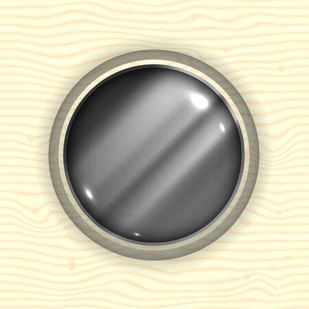 Abstract Metal Sphere in Wood 일러스트