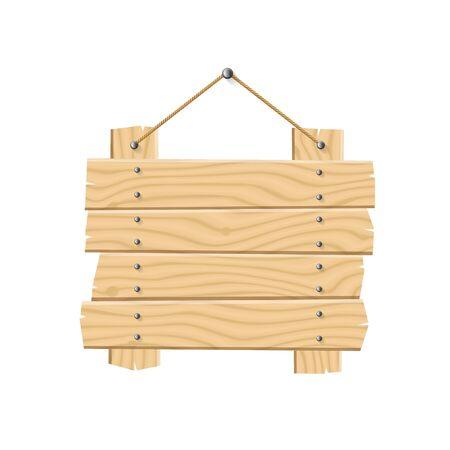 Wooden Planks Sign on white