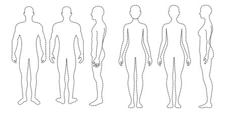 Male and Female Figures on white Illustration
