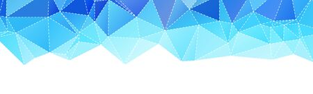 Abstract Wide Polygonal Blue Triangle Banner Texture Illustration