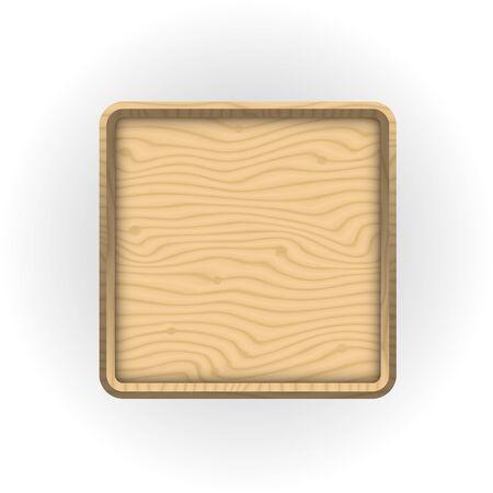 Wooden sticker or label with 3d frame. Illustration