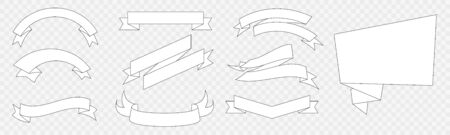 Set of White Flags and Ribbon Banners design 일러스트