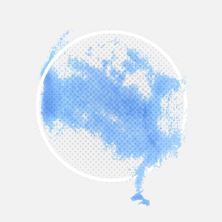 Blue Watercolor Stain Banner Design Element with Frame and Halftone Texture Illustration