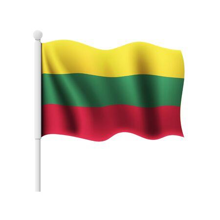 Wavy Lithuanian Flag on white Illustration