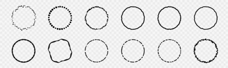 Set of Black Abstract Grunge Circle Shapes and Banners Illustration