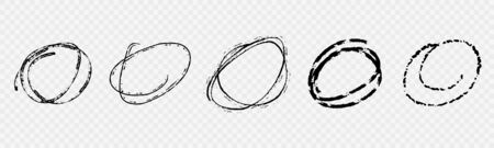 Set of Grunge Hand Drawn Sketch Circles in Scribble Doodle Style Illustration