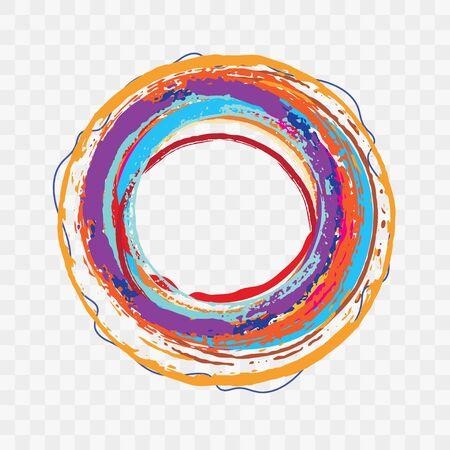Vector Modern Art Rough Edges Brush Stroke Circle Banner Illustration