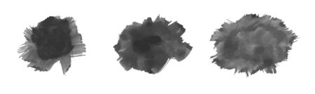 Set of Vector Watercolor Black Stains Illustration
