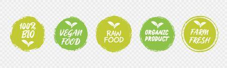 Vegan Healthy Ecology Bio Emblem Logo Design Lettering Badges with Fresh Green Leaves and Grunge Circles Icon Label Sticker Design Illustration