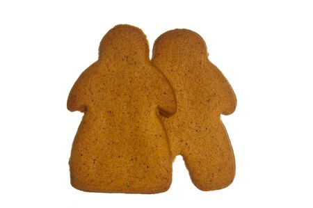 Ginger bread couple on white background.