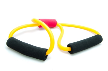 Womans exercise equipment made of rubber on white background