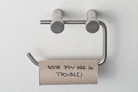 Empty roll of toilet paper on metal stand Standard-Bild