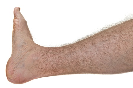 One mans hairy leg isolated on white background Stock Photo