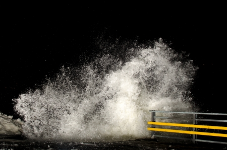 Stormy weather and breaking waves at night photo