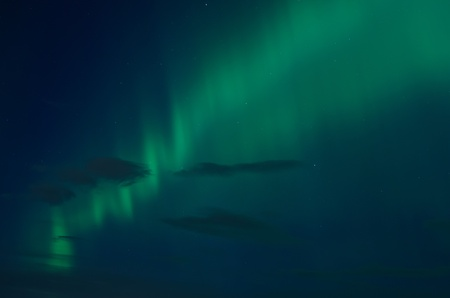 Northern lights  aurora borealis  in the sky in Scandinavia photo