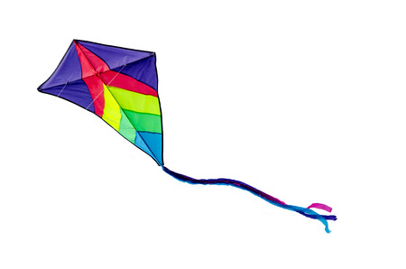 Colorful kite flying isolated on white background photo