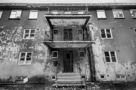apartment building: Old concrete abandoned socialist living block in eastern europe
