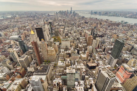 New York City Manhattan downtown on a cloudy day Stock Photo