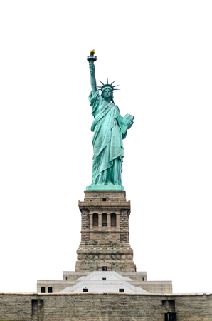 Statue of Liberty isolated on white background with base Stock Photo