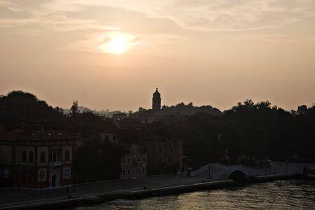 skyline of venice in the golden morning light, Venice, Italy photo