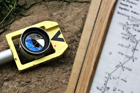 Reflector and map for cadastral survey on the ground