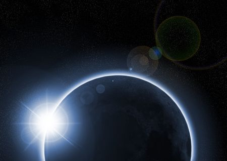A solar eclipse occurs when the moon passes between the Sun and the Earth Stock Photo - 4848113