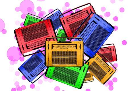 portable radio: old colorful vintage retro radio illustration Stock Photo