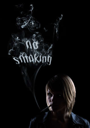 illicit: young women smokes and in the smoke appear the words No Smoking