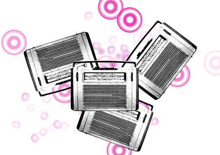 portable radio: old black and white vintage retro radios on a white background