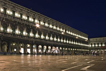 Night exposure of Piazza San Marco Square in Venice, Italy, Europe Stock Photo