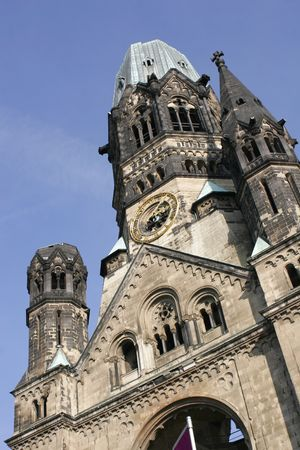 crucifiction: Emperor Wilhelm Memorial Church at the Breitscheidplatz in Berlin Germany