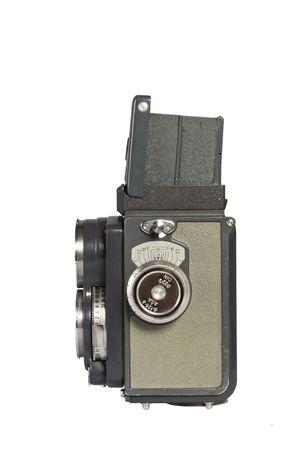 vintage retro twin lens camera isolated on white photo