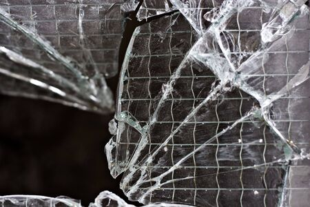 closeup shot of a shattered glass window