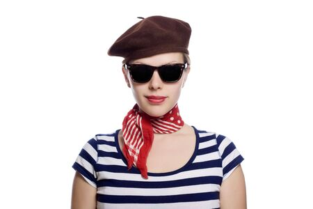 beautiful girl with red bandana, beret and striped shirt in a classic 60s french look