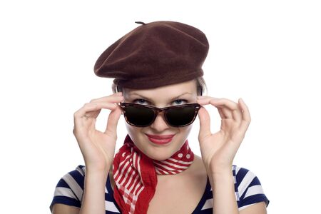 red bandana: beautiful girl with red bandana, beret and striped shirt in a classic 60s french look