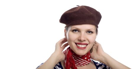 beautiful girl with red bandana, beret and striped shirt in a classic 60s french look Stock Photo - 5046592