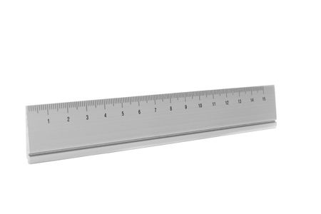 number 15: 15 cm aluminium ruler isolated on white
