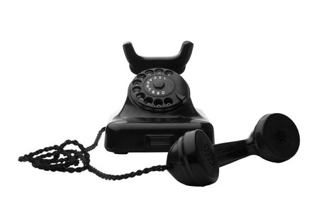 old vintage black rotary telephone isolated on white Stock Photo - 5273859