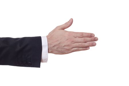closeup of a businessman arm who extends his hand photo