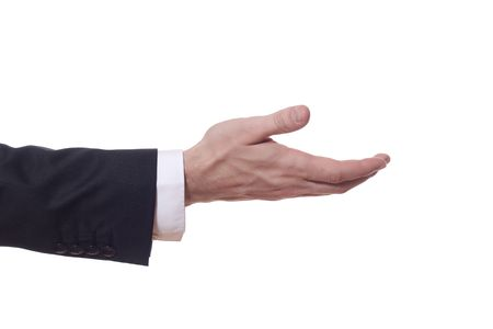 extends: closeup of a businessman arm who extends his hand Stock Photo