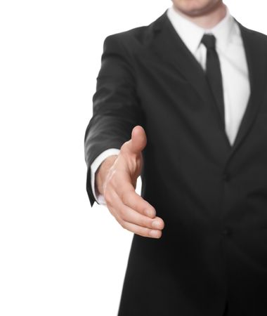 Hand of a businessman ready for handshake Stock Photo - 5781214