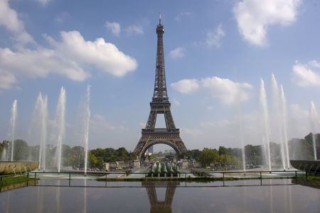 View of Eiffel tower from Trocadero. Paris, France