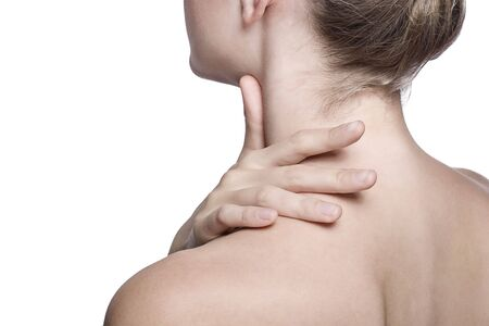 closeup shot of neck and shoulder of a beautiful girl Stock Photo