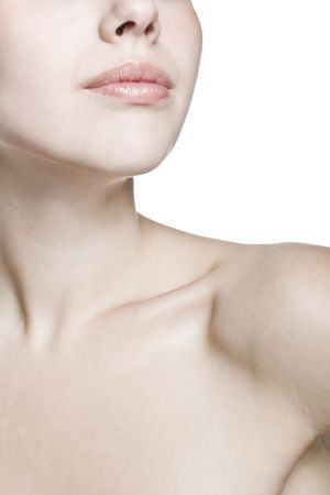 lean back: closeup shot of neck and shoulder of a beautiful girl Stock Photo