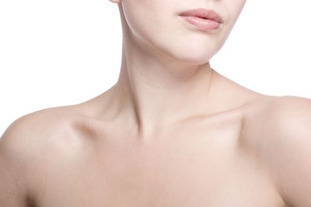 closeup shot of neck and shoulder of a beautiful girl photo