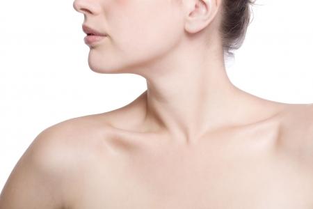 closeup shot of neck and shoulder of a beautiful girl photo